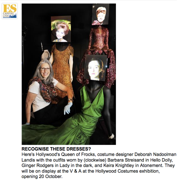Deborah Nadoolman Landis with costumes from V&A's Hollywood Costume exhibition