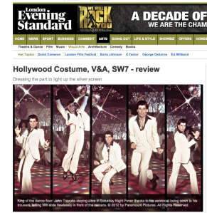 Hollywood Costume reviewed in the Evening Standard