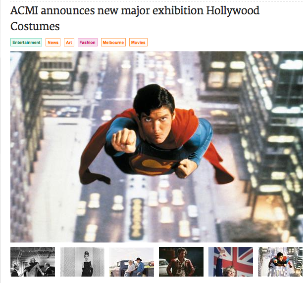 The Vine announces ACMI will host Hollywood Costume next