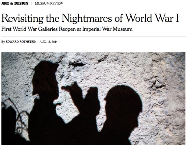 International NewYork Times reviews First World War Gallery at IWM London