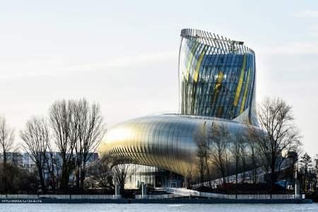 A view of La Cité du Vin by architect XTU
